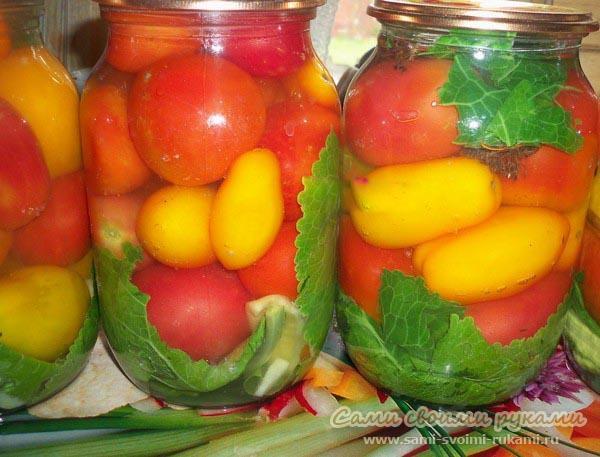 Консервация помидоров на зиму - сладко-соленый рецепт