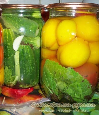 Сладкие огурцы и помидоры - рецепт консервирования на зиму