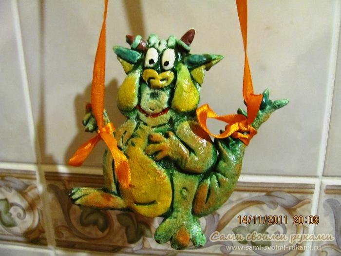 Поделка Дракон новогодняя из соленого теста - мастер класс, фото