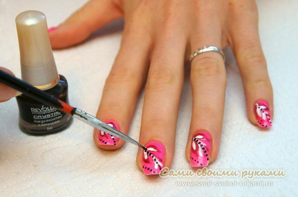 Рисунки лаком на ногти в домашних условиях фото