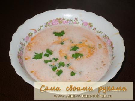 Креветочный суп - рецепт с сыром