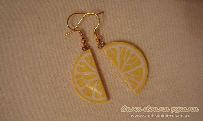 Серьги Дольки лимонов, делаем из полимерной глины
