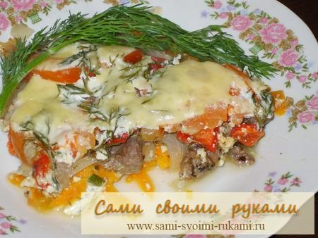 Говядина с овощами - рецепт приготовления