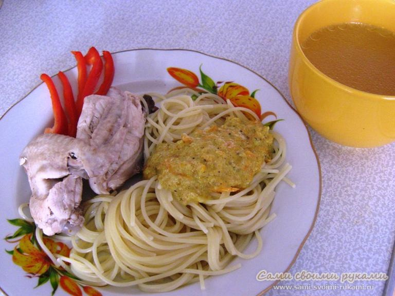 Курица отварная - как приготовить со сметанным соусом - рецепт с фото