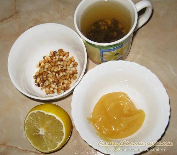 Маска для волос - кедровые орешки, мед, зеленый чай и лимон для здоровья и густоты волос