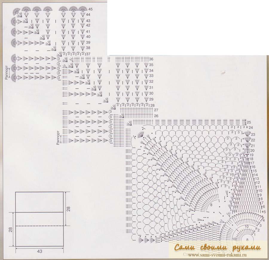 Чехлы на подушки крючком схемы описание