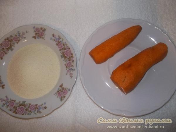 Морковная скраб маска для лица с манкой