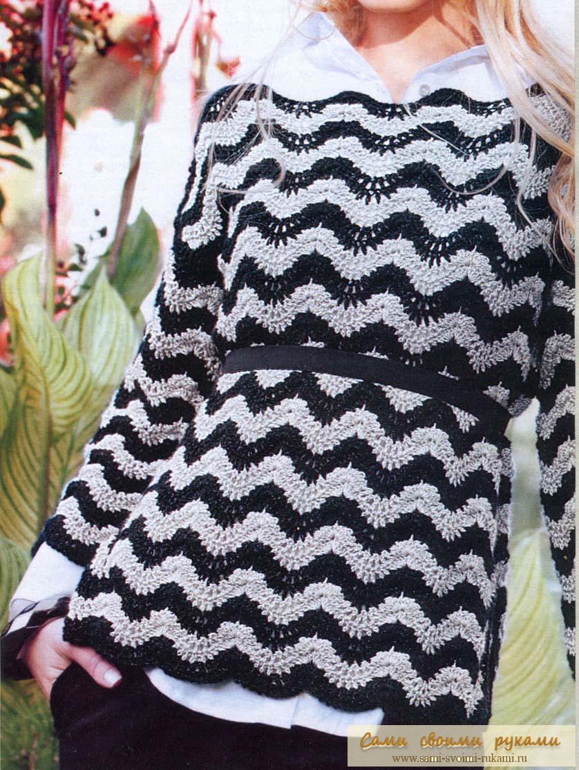 Узор зигзаг крючком - вяжем черно белый пуловер