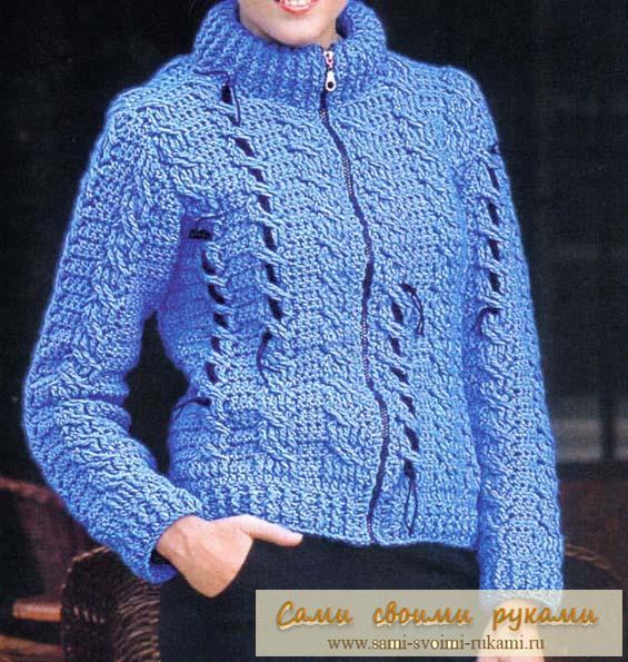 Косы крючком - вяжем лазурный пуловер
