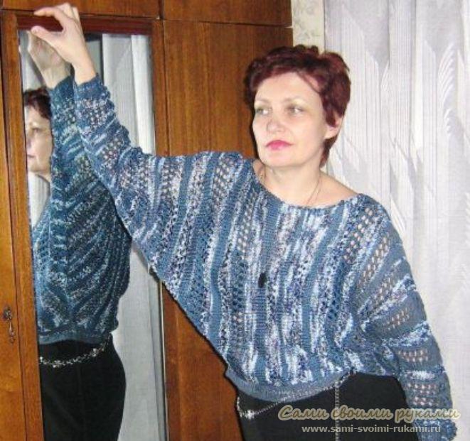 как связать пуловер с рукавами летучая мышь мастер класс фото