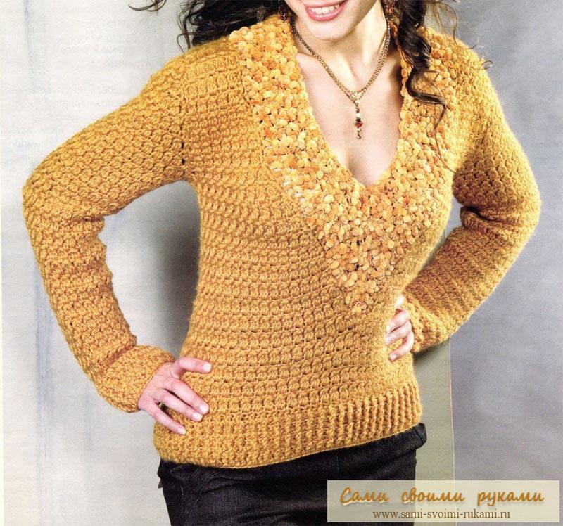 Пуловер с эффектным вырезом крючком