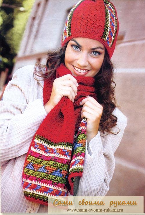 Шапка и шарф вяжем крючком