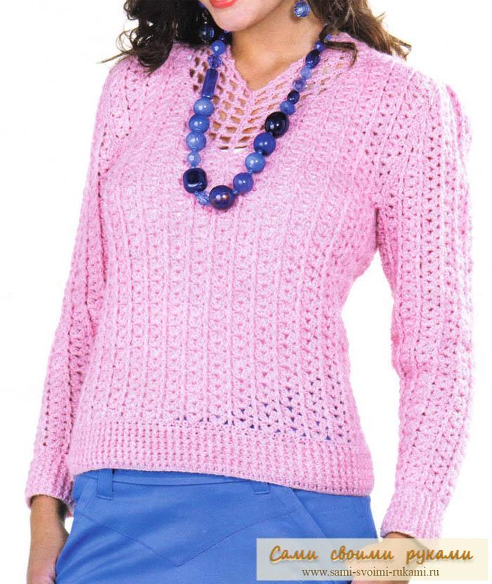 Нежная розовая кофточка - вяжем крючком