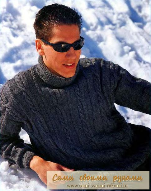Мужской свитер с узором олени вязание модели направление вязания снизу.