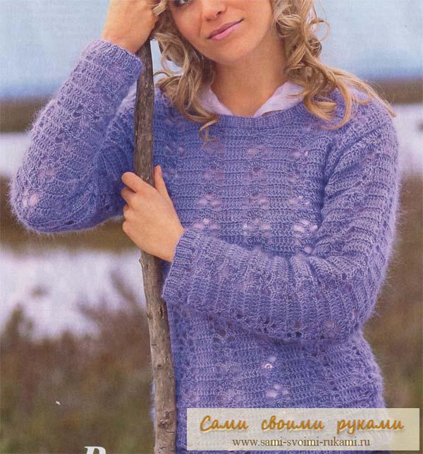 Сиреневый пуловер - вяжем крючком