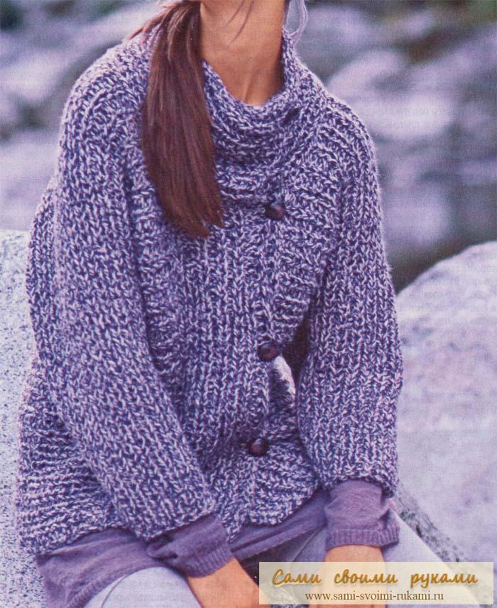 Полупатентный узор - вяжем свитер спицами