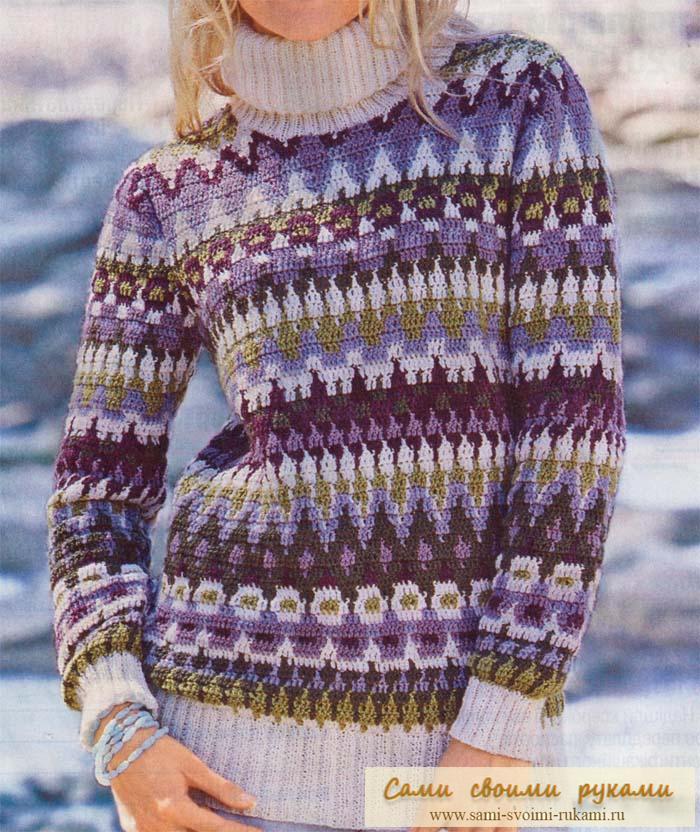 Жаккардовый пуловер спицами