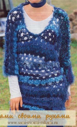 Вяжем синее платье крючком