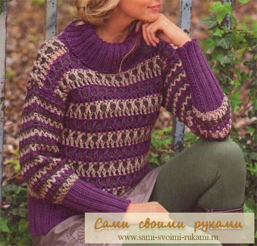 Вяжем полосатый пуловер крючком