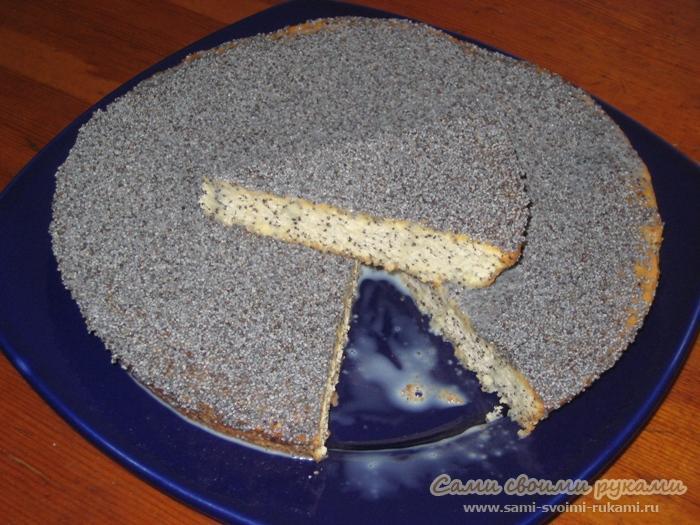 Кекс с маком, пропитанный сливками и сгущенкой - рецепт, фото