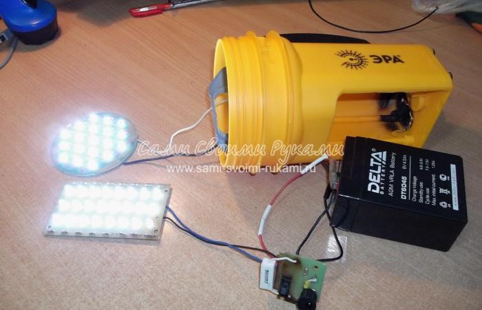 Ремонт аккумуляторного фонаря своими руками