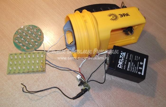 Светодиодный фонарь своими руками на аккумуляторе 6512