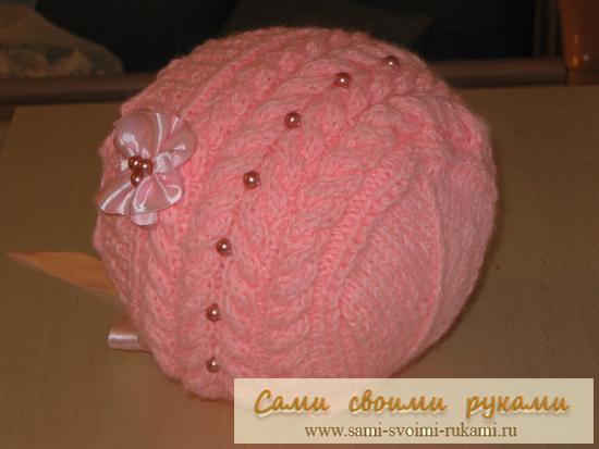 Вязаные пуловер с косами и шапка размеры.