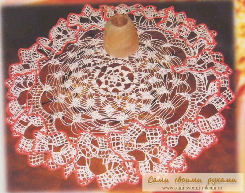 Салфетка Лилия с объемным краем - вяжем крючком