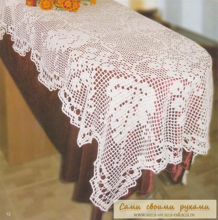 ...Вязание подушки крючком - схема 16.02.2011 Кайма с... Для того, чтобы связать такую скатерть филейной вязкой...