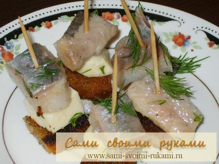Закуска из селедки — рецепт канапе