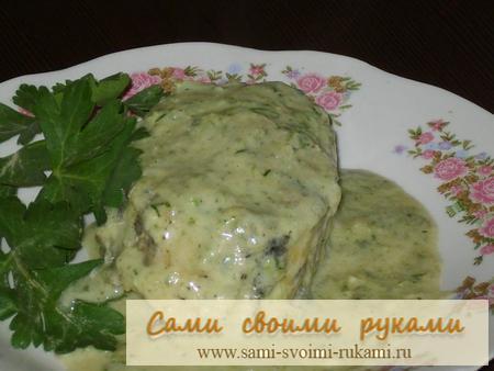 Треска в сырно-луковом соусе - рецепт приготовления