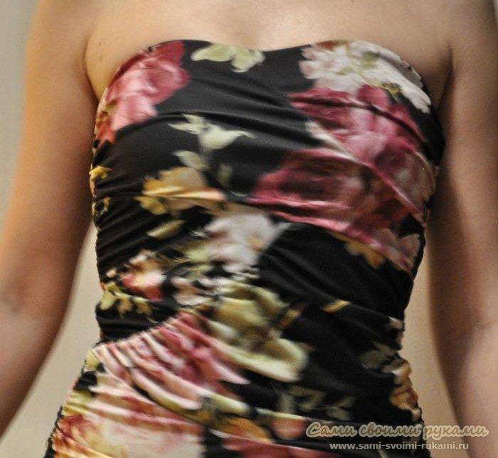 Платье черное с розами - фото, выкройка