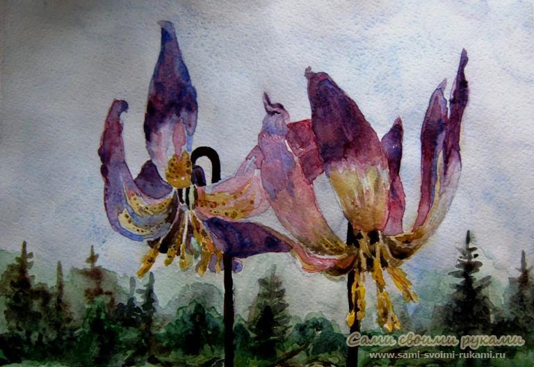 Как писать картины цветов акварелью - описание, фото