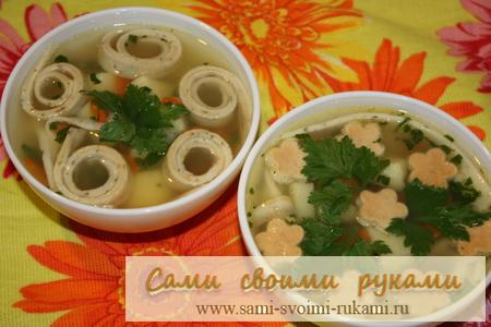 фото рецепт куриного супа с яичной лапшой