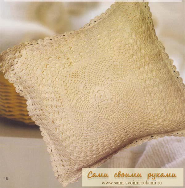 Вязание подушки крючком - схема.