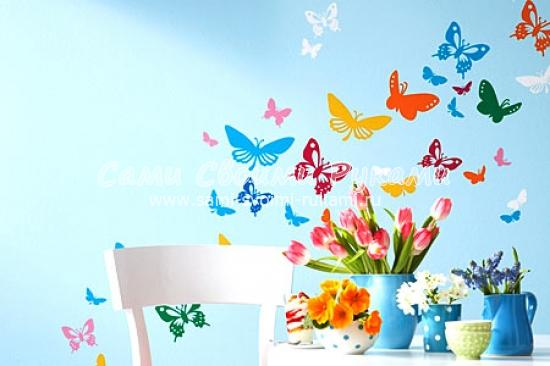Трафареты бабочки на стену своими руками трафарет