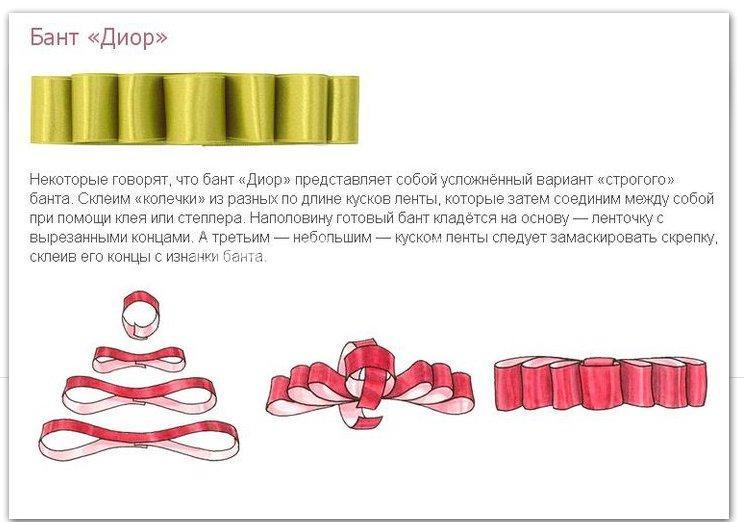 Бантики из атласных лент своими руками схемы 68