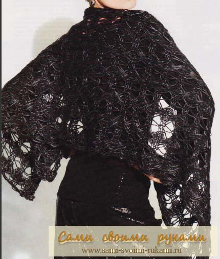 Черная ажурная туника спицами