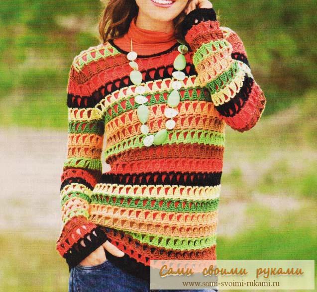 Полосатый пуловер — узор треугольники крючком