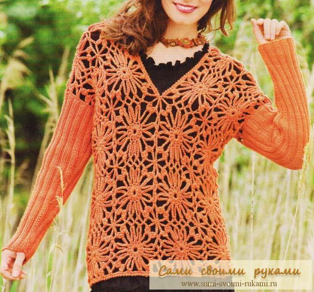 Пуловер с цветочными мотивами - вяжем крючком