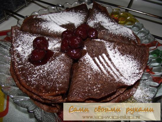 Блинчики шоколадные - рецепт