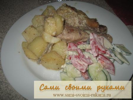 Курица с картошкой и грибами в сметанном соусе
