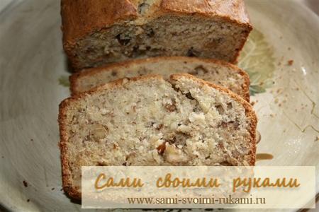Банановый хлеб с орехами - рецепт