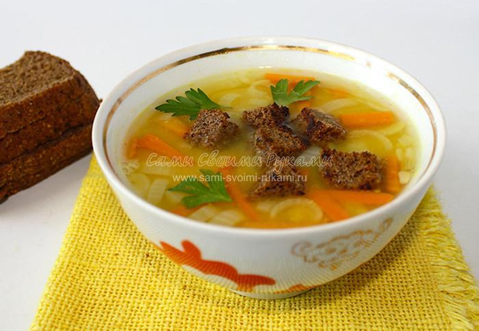 Суп из гороха на мясном бульоне