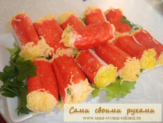 Фаршированные крабовые палочки - рецепт
