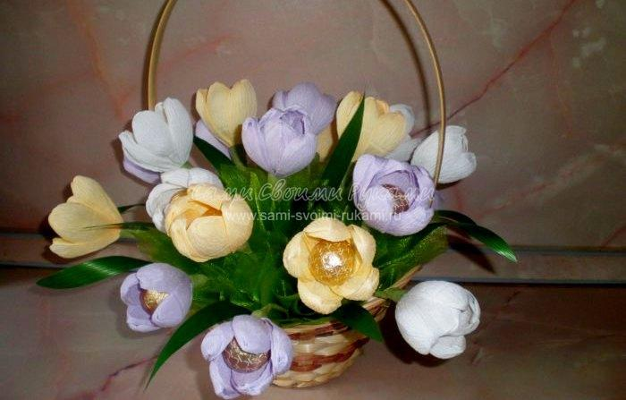 Букеты из конфет тюльпаны фото