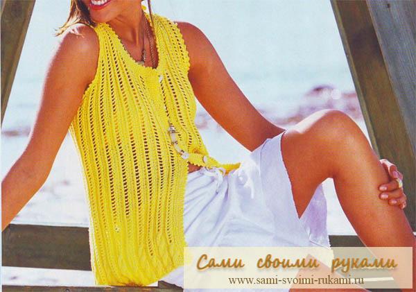 Желтый жилет в ажурную полоску - спицами