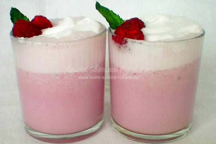 Рецепт молочного коктейля с малиной