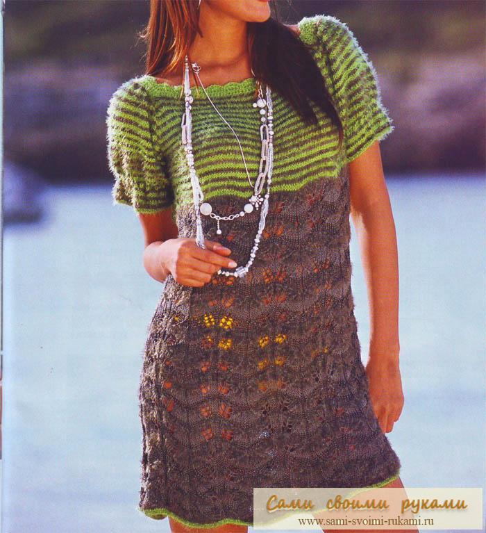 Мини платье с полосатой кокеткой - спицами