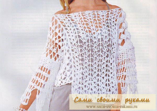 Ажурный белый пуловер с разрезами - крючком